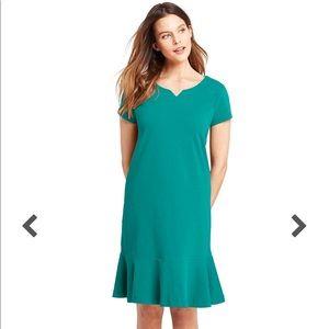 Lands end | ruffle hem shirt dress green XL